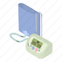 cartoon, equipment, heart, isometric, measurement, pulse, tonometer icon