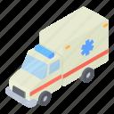 ambulance, car, cartoon, health, isometric, medicine, transportation icon