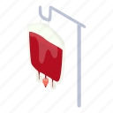 bag, blood, cartoon, isometric, medicine, package, transfusion icon