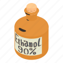 alcohol, bottle, cartoon, ethanol, glass, health, isometric icon