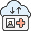 patient, synchronization, card, medical, cloud, sync icon