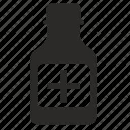 bottle, label, medicine, plus, treatment icon