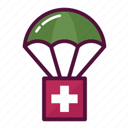 assistance, doctor, healthcare, humanitarian, medicine, parachute, sending icon