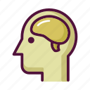 anatomy, brain, head, human, mind, nervous system, profile icon