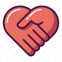 care, handshake, health, healthcare, heart, hospital, medicine icon