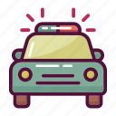 ambulance, car, emergency, medical, police, siren, transport icon