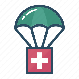 assistance, first aid, humanitarian, medicine, parachute, pharmacy, sending icon