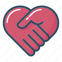 handshake, health, health care, healthcare, heart, medical, medicine icon