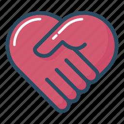 handshake, health, health care, healthcare, heart, medical, medicine icon