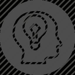 brain, bulb, business, clever, conceptual, creative, idea, inspiration, iq, lamp, lightbulb, solution, test icon