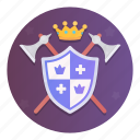 ax, emblem, king, kingdom, nobleman, shield, weapon
