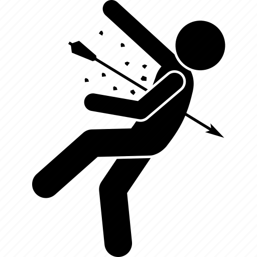 arrow, body, hit, human, kill, war icon