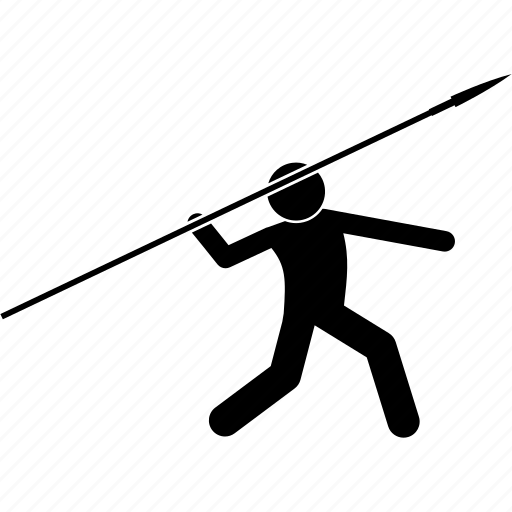 man, spear, throwing icon