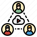 chat, conference, group, online, video icon