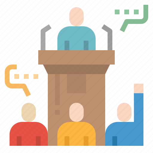 conference, podium, question, speaking, speech icon