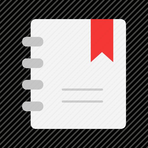 book, bookmark, list, spiral notebook icon