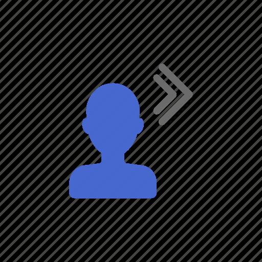 exit, logout, member, membership, next, profile, step icon