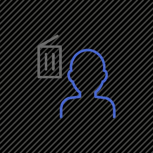 account, bin, delete, member, remove, trash, user icon