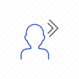 account, exit, logout, membership, next, profile, step icon