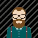 avatar, beard, hipster, man icon