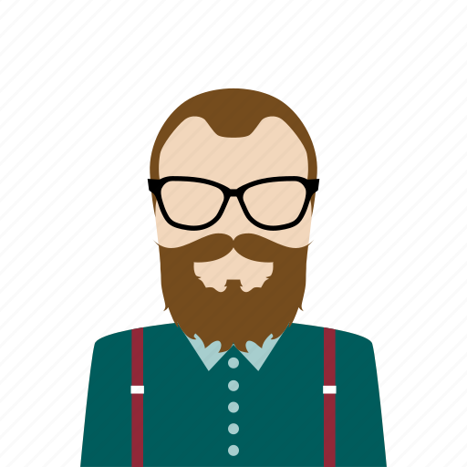 avatar, beard, hipster, man icon