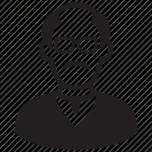 avatar, bald, man, mustache, old man, professor icon