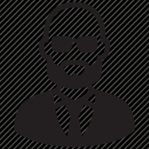 avatar, bald, beard, male, man, portrait icon