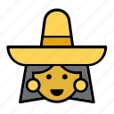 avatar, face, mexican, mexico, people, person, woman icon