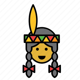 face, indian, native american, people, person, user, woman icon