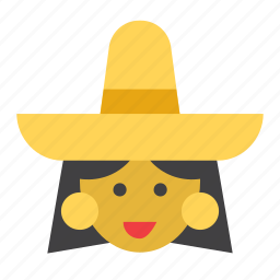 avatar, girl, mexican, mexico, people, person, woman icon