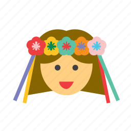 avatar, face, flowers, girl, people, person, womna icon