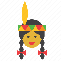 face, girl, indian, native american, people, person, woman icon