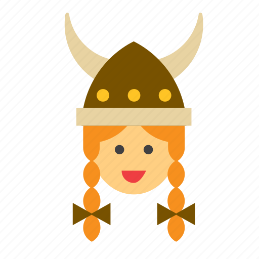 avatar, face, girl, people, person, viking, woman icon