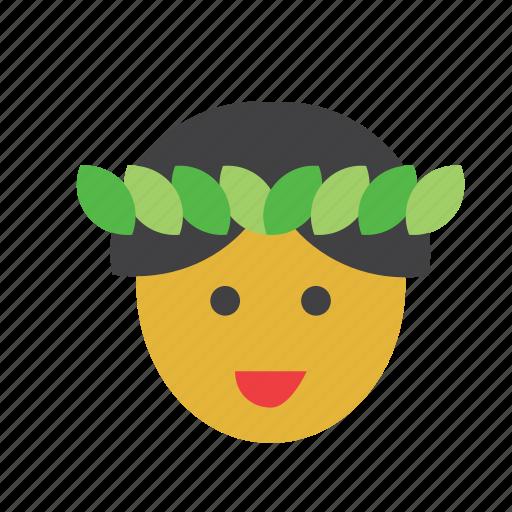 boy, face, hawaii, hawaiian, man, people, person icon