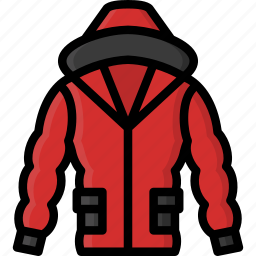 clothing, coat, colour, mens, puffer icon