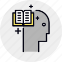book, brain, education, memorization, training icon