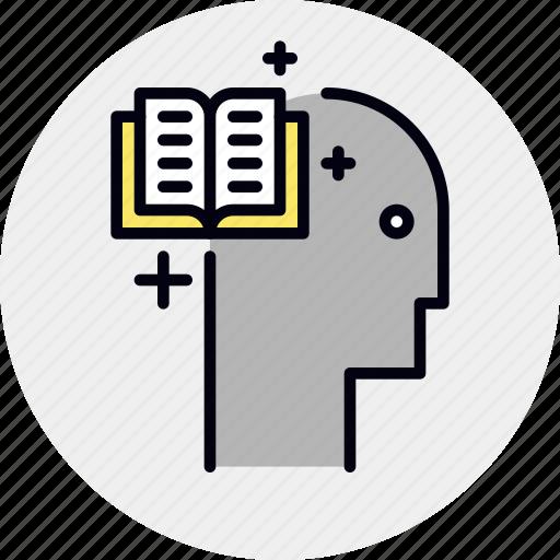 book, brain, education, memorization, training icon