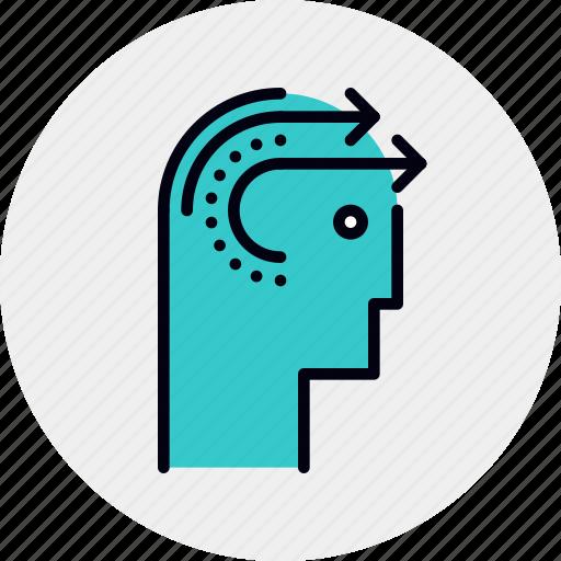 forward, head, skill, thinking icon