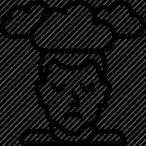 cloudy, depression, head, health, mental, mind icon