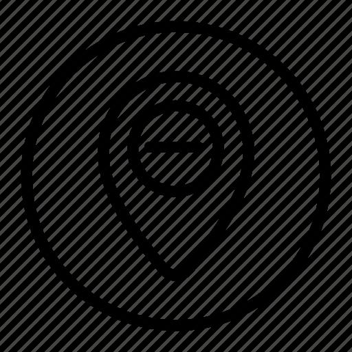 delete, gps, location, map, minus, pin icon