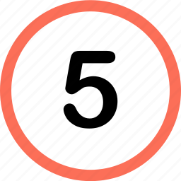 five, menu, navigation, number, option icon