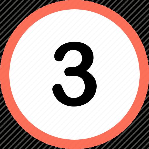menu, navigation, number, option, three icon