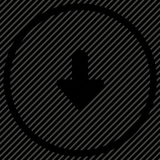 arrow, bottom, navigation icon