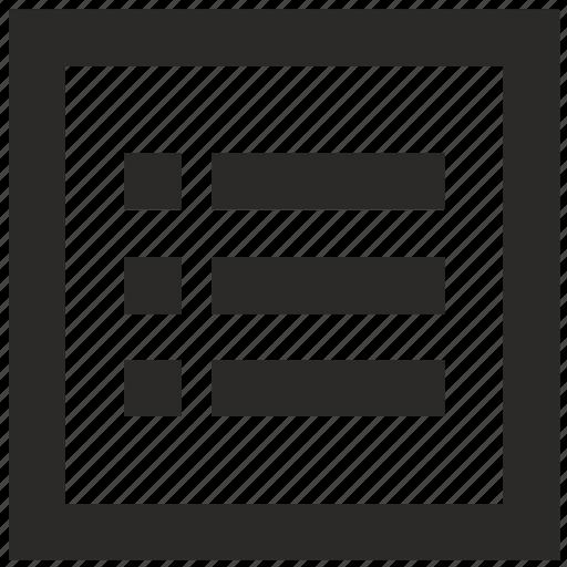 bar, form, list, menu, mobile, square icon