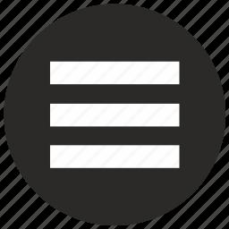 menu, mobile, round icon