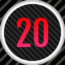 count, number, numeric, twenty icon
