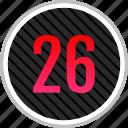 count, number, numeric, six, twenty icon
