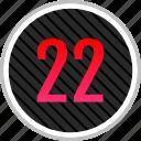 count, number, numeric, twenty, two icon