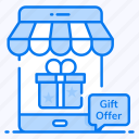 gift offer, gift store, online store, gift shop, online shop icon