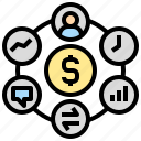 administration, business, financial, management, money icon